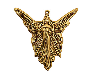 Stampt Antique Gold (plated) Madame Butterfly Pendant 30x30mm