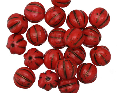 Czech Glass Opaque Red Melon Round 8mm