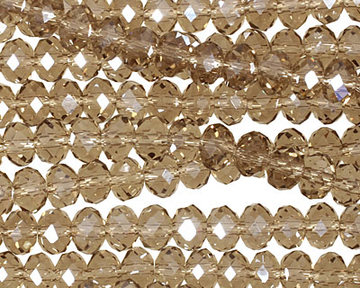 Smoky Crystal Faceted Rondelle 6mm