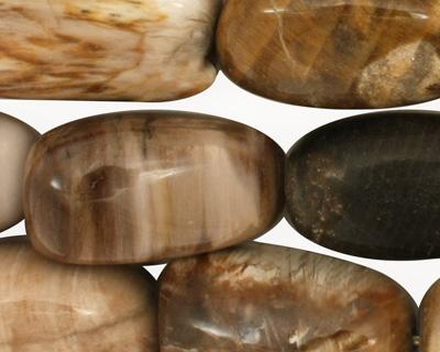 Black Petrified Wood Tumbled Nugget 25-27x15-17mm