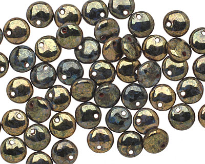 Czech Glass Bronzed Jet Picasso Top Drilled Lentil 6mm