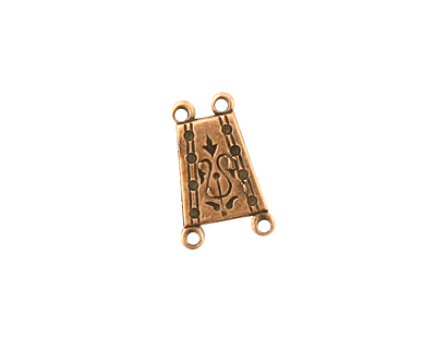 Stampt Antique Copper (plated) Arts & Crafts 2 and 2 Ring Connector 16x10mm