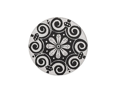 Lillypilly Black Scrolling Daisy Anodized Aluminum Disc 25mm, 22 gauge