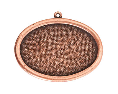 Nunn Design Antique Copper (plated) Large Horizontal Oval Framed Pendant 42x30mm