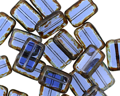 Czech Glass Sapphire Picasso Rectangle 12x8mm