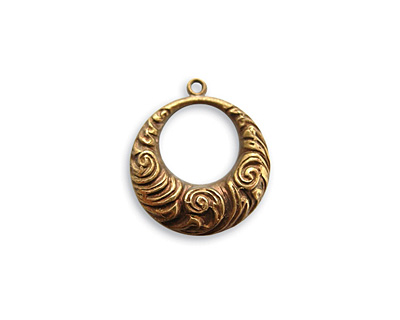 Vintaj Natural Brass Nouveau Swirls Toggle Ring 18x16mm