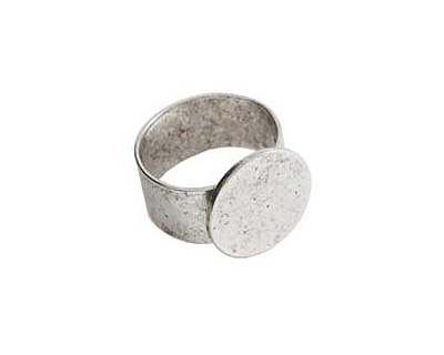 Nunn Design Antique Silver (plated) Large Circle Adjustable Ring 16mm