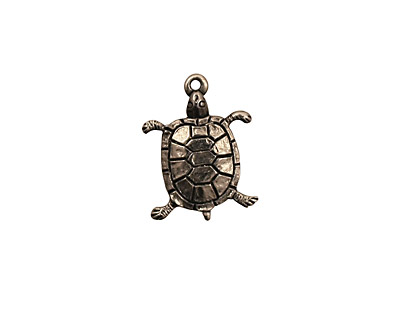 Stampt Antique Pewter (plated) Turtle Charm 12.5x17mm