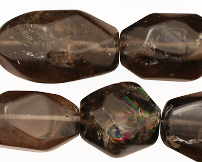 Smoky Quartz Faceted Nugget 20-28x14-18mm