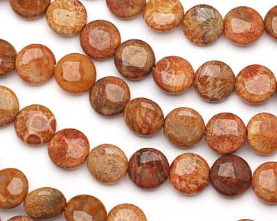 Fossil Jasper (red) Puff Coin 12mm