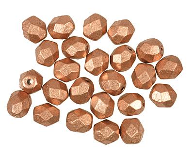 Czech Fire Polished Glass Matte Metallic Copper Round 6mm