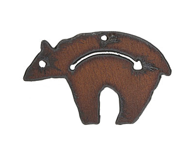 The Lipstick Ranch Rusted Iron Guiding Bear w/ Arrow Pendant 53x33mm