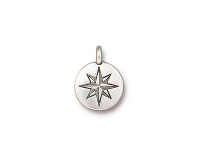 TierraCast Antique Silver (plated) Mini North Star Charm