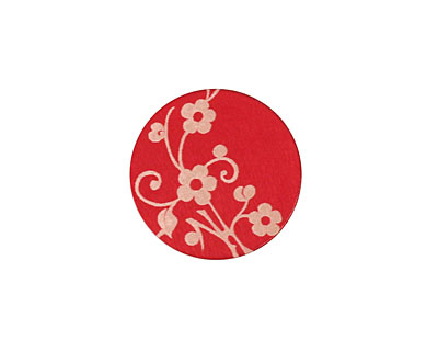 Lillypilly Red Floral Vine Anodized Aluminum Disc 19mm, 24 gauge