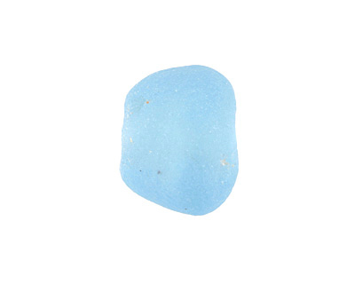 African Recycled Glass Sky Blue Tumbled Rondelle 14-18x17-20mm