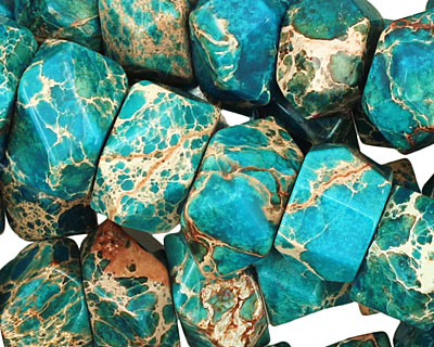 Teal Impression Jasper Irregular Faceted Rondelle 9-10x14-15mm