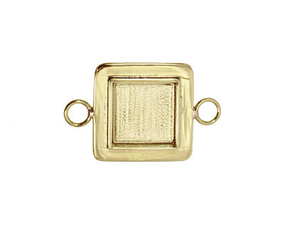 Brass Lipped Square Bezel Link 19mm
