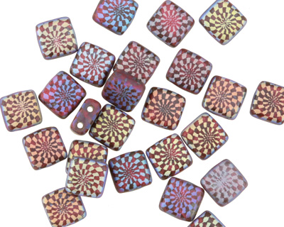 Czech Glass Laser Etched Checkered Spiral on Matte Ruby Red w/ AB Finish 2-Hole Tile 6mm