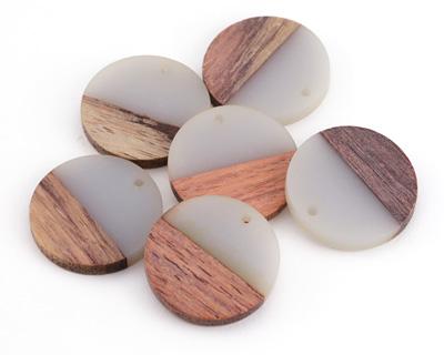 Wood & Mist Resin Coin Focal 28mm