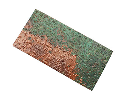 Lillypilly Verde Morphed Embossed Patina Copper Sheet 3