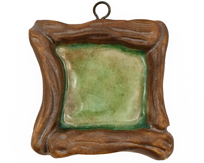 Gaea Ceramic Hand Painted Emerald on Chocolate Square Bezel 25mm