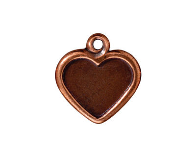 TierraCast Antique Copper (plated) Victorian Heart Frame Pendant 19mm