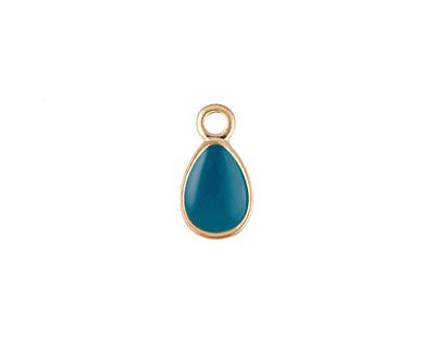 Zola Elements Peacock Enamel Matte Gold Finish Teardrop Charm 8x14mm