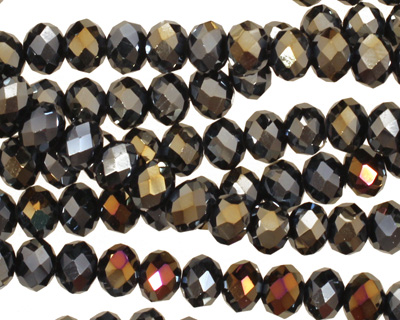 Metallic Peacock Hematite Crystal Faceted Rondelle 6mm
