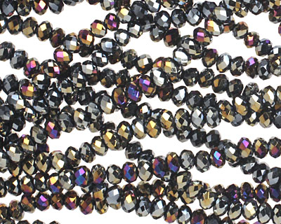 Metallic Peacock Hematite Crystal Faceted Rondelle 3mm