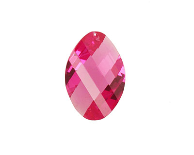 Ruby Pink Faceted Twisted Oval 15x17mm