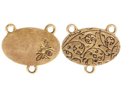 Nunn Design Antique Gold (plated) Large Oval Bee 2-1 Connector 22x25mm