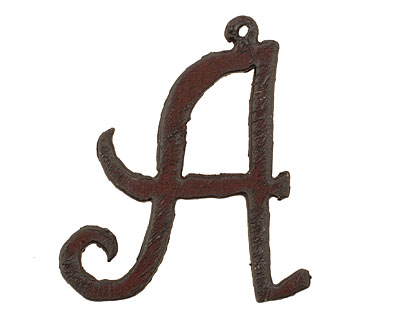The Lipstick Ranch Rusted Iron Letter A Pendant 44x50mm
