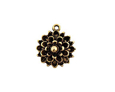 Nunn Design Antique Gold (plated) Mum Flower Charm 17x19mm