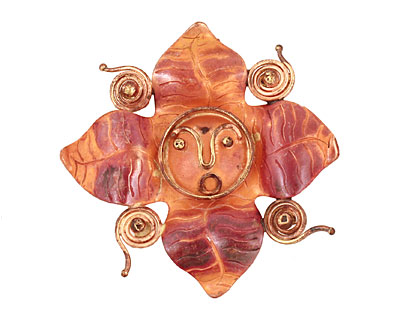 Patricia Healey Copper Flower Face Pendant 51mm