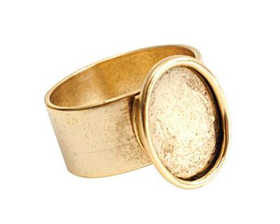 Nunn Design Antique Gold (plated) Large Oval Frame Adjustable Ring 16x20mm