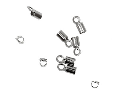 Silver (plated) Foldover Crimp End 8x3mm