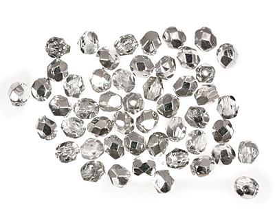 Czech Fire Polished Glass Silver 1/2 Round 4mm