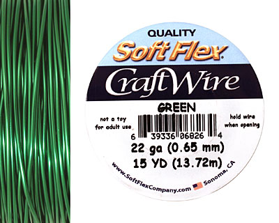 Soft Flex Green Craft Wire 22 gauge, 15 yards