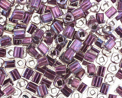 TOHO Rainbow Crystal (with Metallic Purple Lining) Cube 4mm Seed Bead