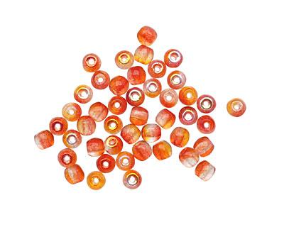 Czech Glass Fuchsia / Cantaloupe Round Druk 3mm