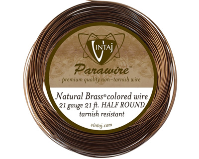 Vintaj Natural Brass Half Round Parawire 21 gauge, 21 feet
