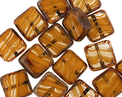 Czech Glass Pumpkin Pie Square 10mm
