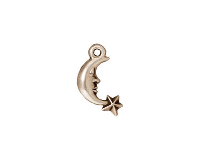 TierraCast Antique Silver (plated) Crescent Star Charm 11x17mm