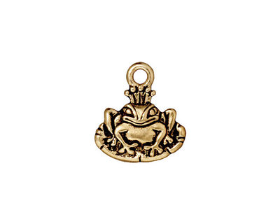TierraCast Antique Gold (plated) Frog Prince Charm 15x16mm
