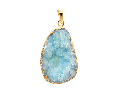 Sky Blue Druzy Pendant set in Gold (plated) 25-35x35-55mm