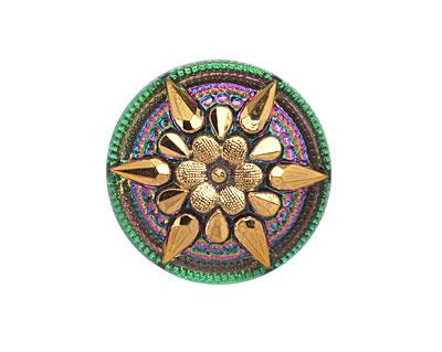Czech Glass Pink & Green w/ Metallic Gold Starflower Button 32mm