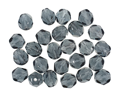 Czech Fire Polished Glass Montana Blue Round 6mm
