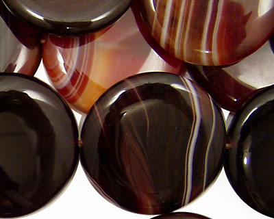 Brown Lace Agate Puff Coin 25mm