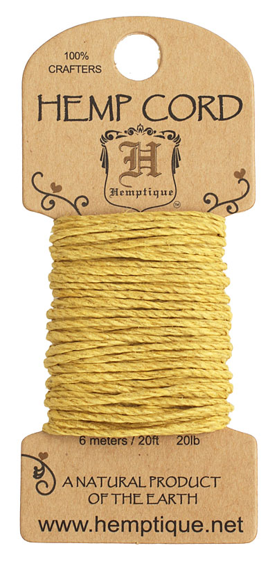 Yellow Hemp Twine 20 lb, 20 ft