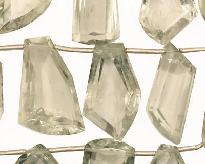 Prasiolite Faceted Irregular Drop 8-14x12-27mm